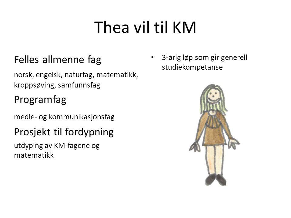 Thea vil til KM Felles allmenne fag norsk, engelsk, naturfag, matematikk, kroppsøving, samfunnsfag Programfag medie- og kommunikasjonsfag Prosjekt til fordypning utdyping av KM-fagene og matematikk • 3-årig løp som gir generell studiekompetanse
