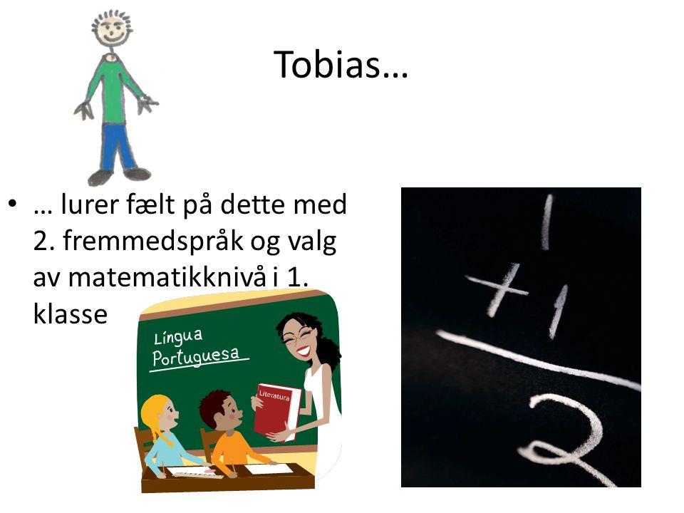 Tobias… • … lurer fælt på dette med 2. fremmedspråk og valg av matematikknivå i 1. klasse