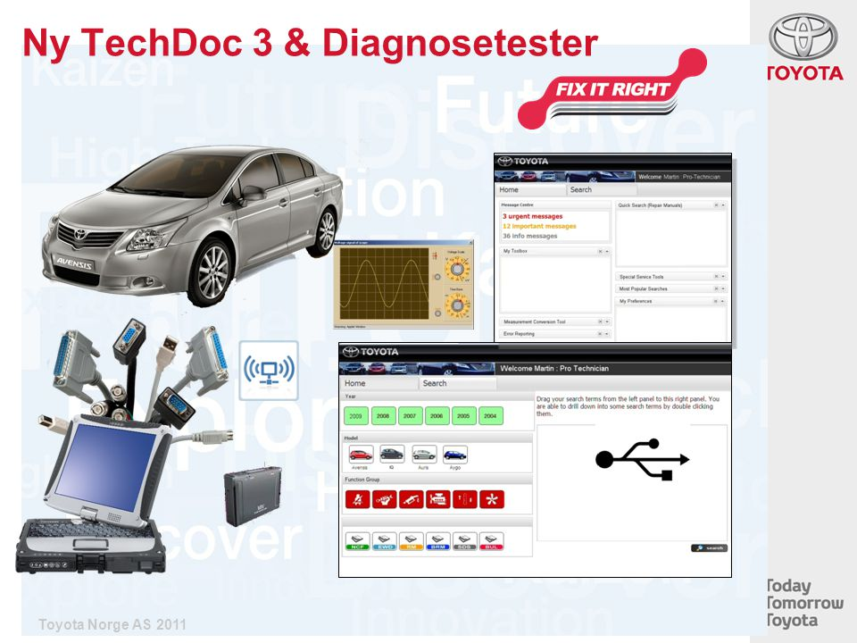Ny TechDoc 3 & Diagnosetester Toyota Norge AS 2011