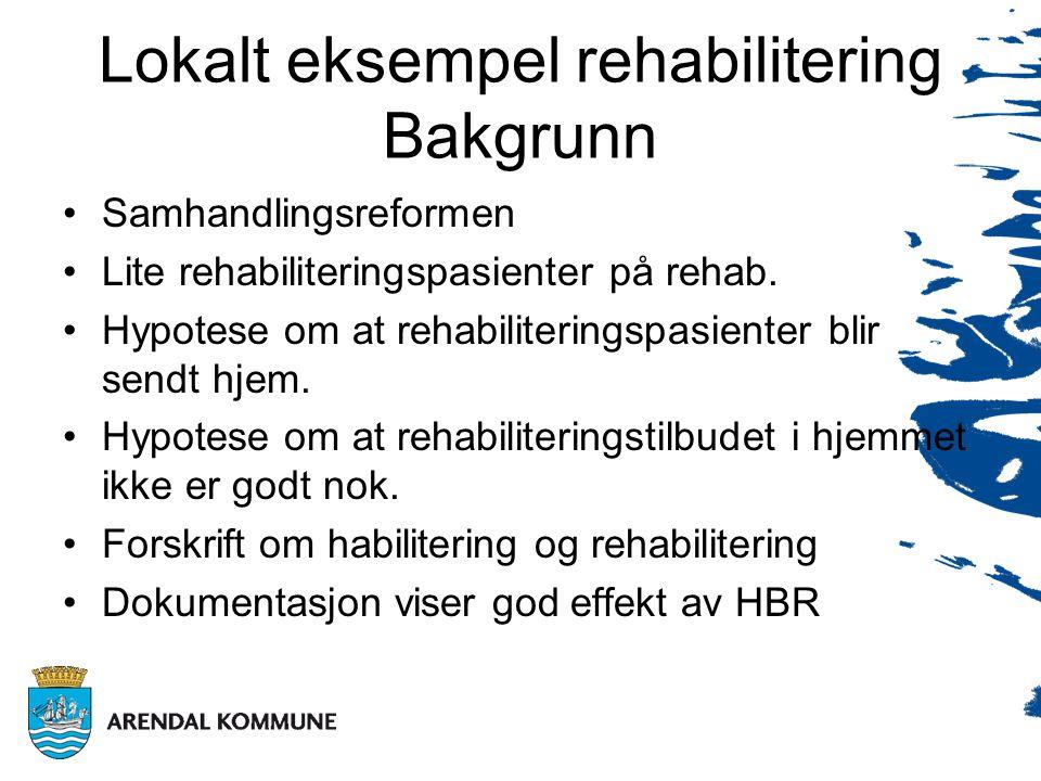 Lokalt eksempel rehabilitering Bakgrunn •Samhandlingsreformen •Lite rehabiliteringspasienter på rehab.