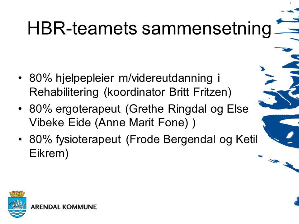HBR-teamets sammensetning •80% hjelpepleier m/videreutdanning i Rehabilitering (koordinator Britt Fritzen) •80% ergoterapeut (Grethe Ringdal og Else Vibeke Eide (Anne Marit Fone) ) •80% fysioterapeut (Frode Bergendal og Ketil Eikrem)