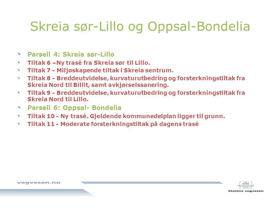 Skreia sør-Lillo og Oppsal-Bondelia Parsell 4: Skreia sør-Lillo Tiltak 6 –Ny trasé fra Skreia sør til Lillo.