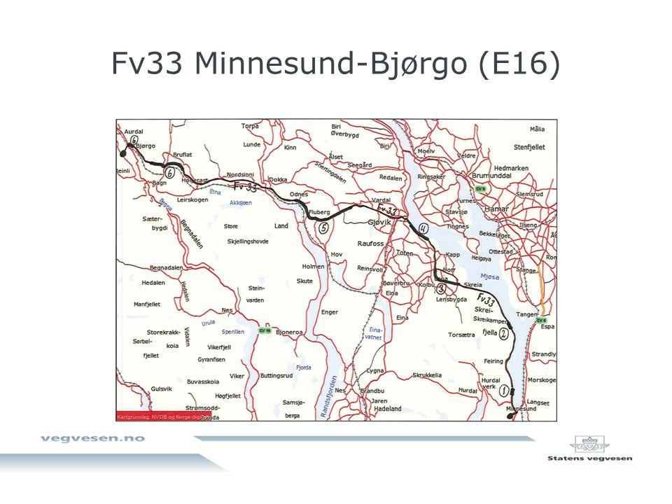 Fv33 Skisse delvis bompengefinansiering Prosjekt Bomtakst lett bil Merknad 30 % fylkeskommunal andel 50 % fylkeskommunal andel 1 Tunnel ved Byrudberga samt gang-/sykkelveg 12 kr Bomtakst 20 kr med kun én bomstasjon ved Byrudberga.