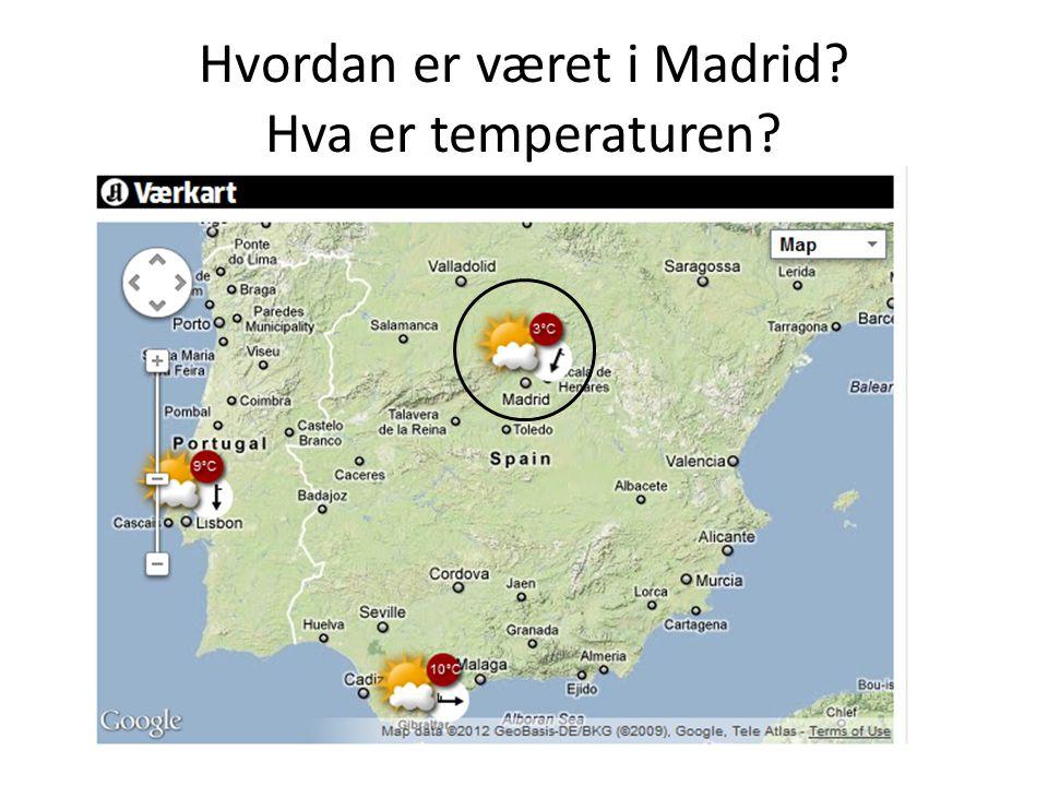 Hvordan er været i Madrid? Hva er temperaturen?
