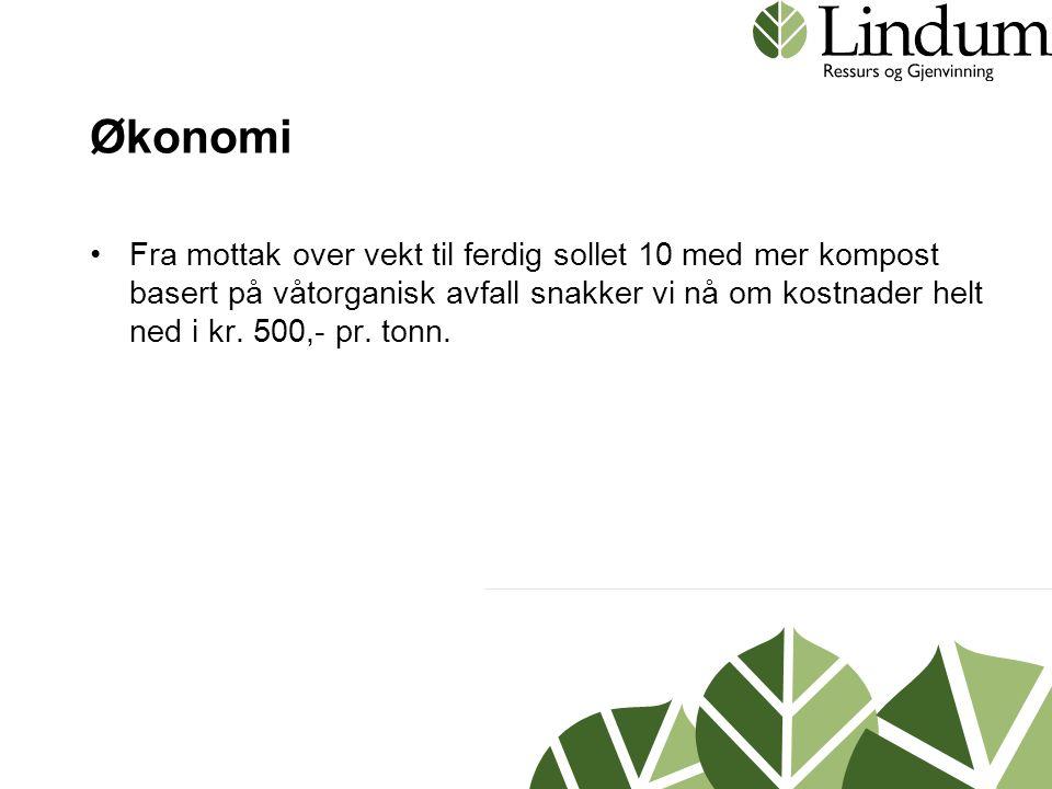 Økonomi •Fra mottak over vekt til ferdig sollet 10 med mer kompost basert på våtorganisk avfall snakker vi nå om kostnader helt ned i kr. 500,- pr. to