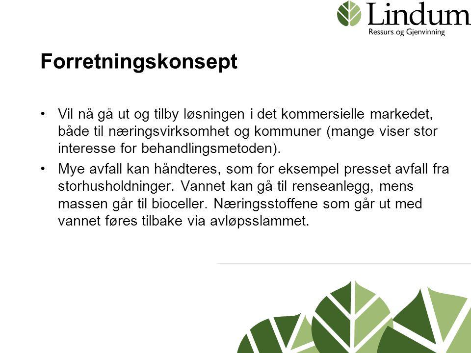 Forretningskonsept •Vil nå gå ut og tilby løsningen i det kommersielle markedet, både til næringsvirksomhet og kommuner (mange viser stor interesse for behandlingsmetoden).