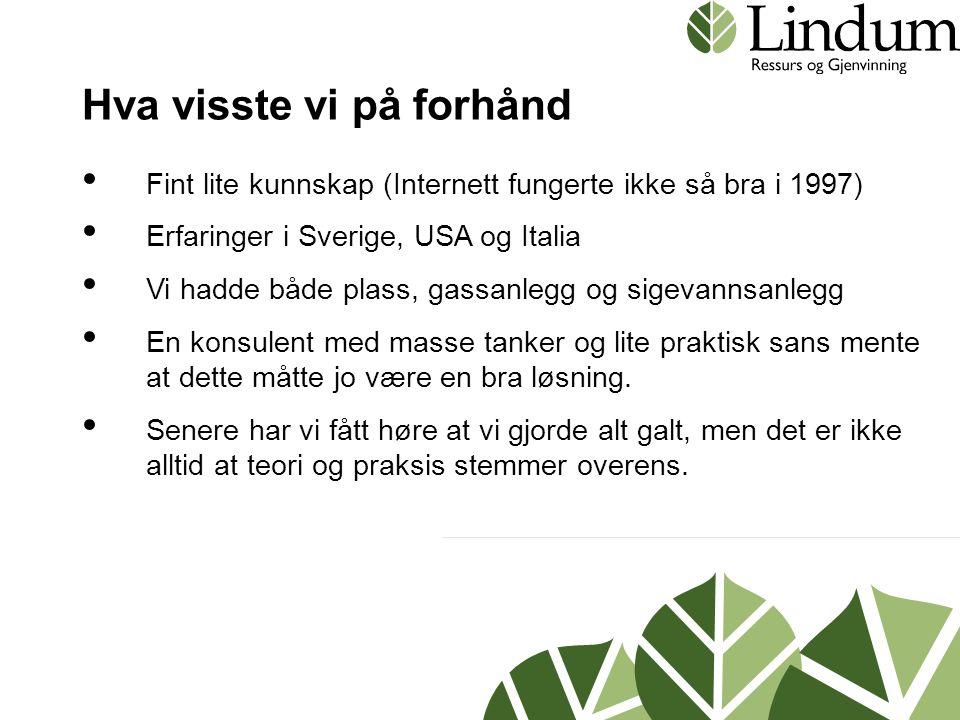 Hva visste vi på forhånd • Fint lite kunnskap (Internett fungerte ikke så bra i 1997) • Erfaringer i Sverige, USA og Italia • Vi hadde både plass, gas