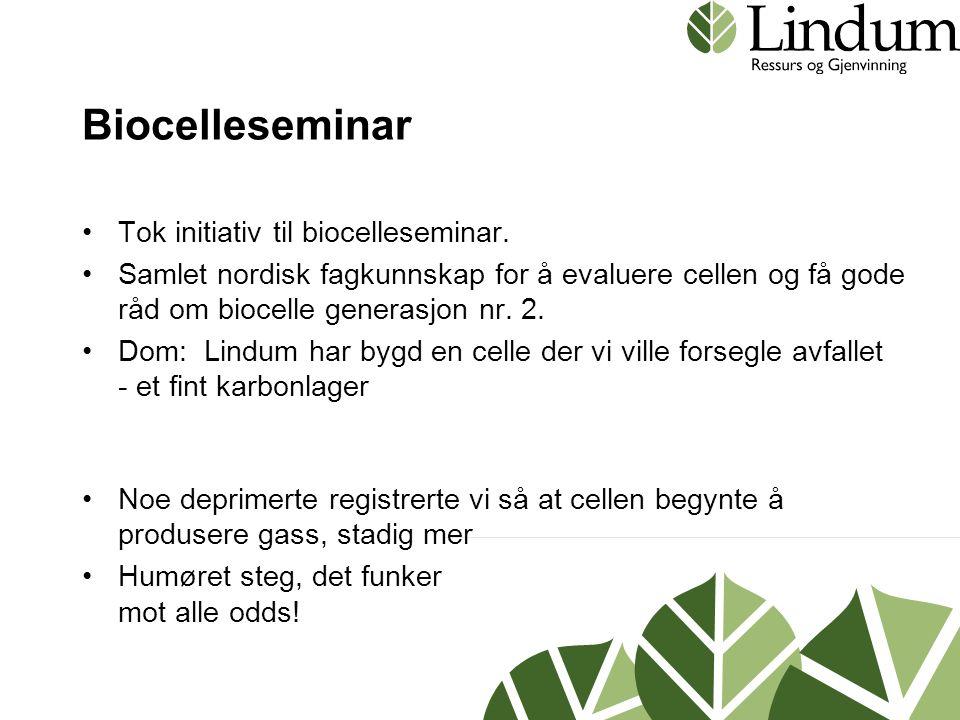 Biocelleseminar •Tok initiativ til biocelleseminar. •Samlet nordisk fagkunnskap for å evaluere cellen og få gode råd om biocelle generasjon nr. 2. •Do