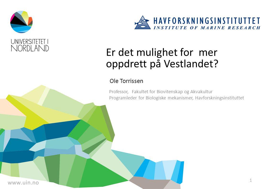 Er det mulighet for mer oppdrett på Vestlandet? Ole Torrissen Professor, Fakultet for Biovitenskap og Akvakultur Programleder for Biologiske mekanisme