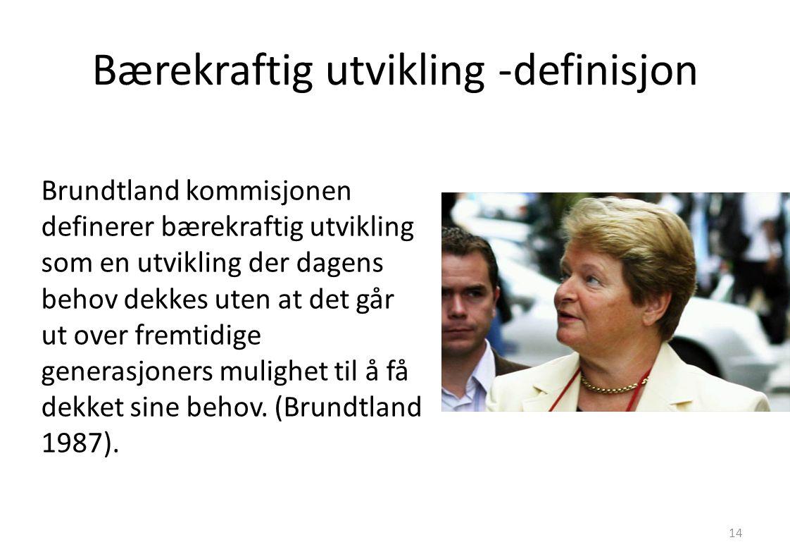 Bærekraftig utvikling -definisjon Brundtland kommisjonen definerer bærekraftig utvikling som en utvikling der dagens behov dekkes uten at det går ut o