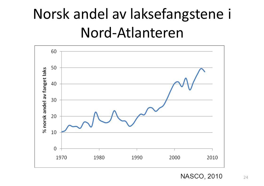 Norsk andel av laksefangstene i Nord-Atlanteren NASCO, 2010 24
