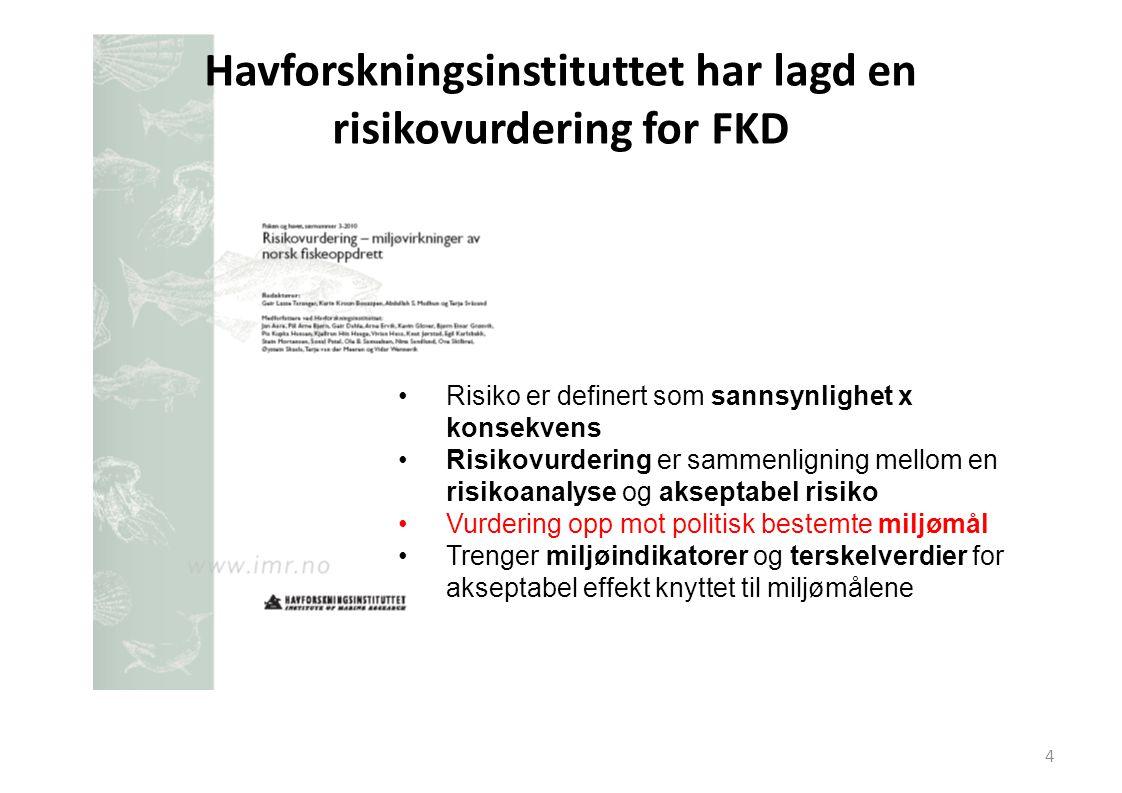 Havforskningsinstituttet har lagd en risikovurdering for FKD •Risiko er definert som sannsynlighet x konsekvens •Risikovurdering er sammenligning mell