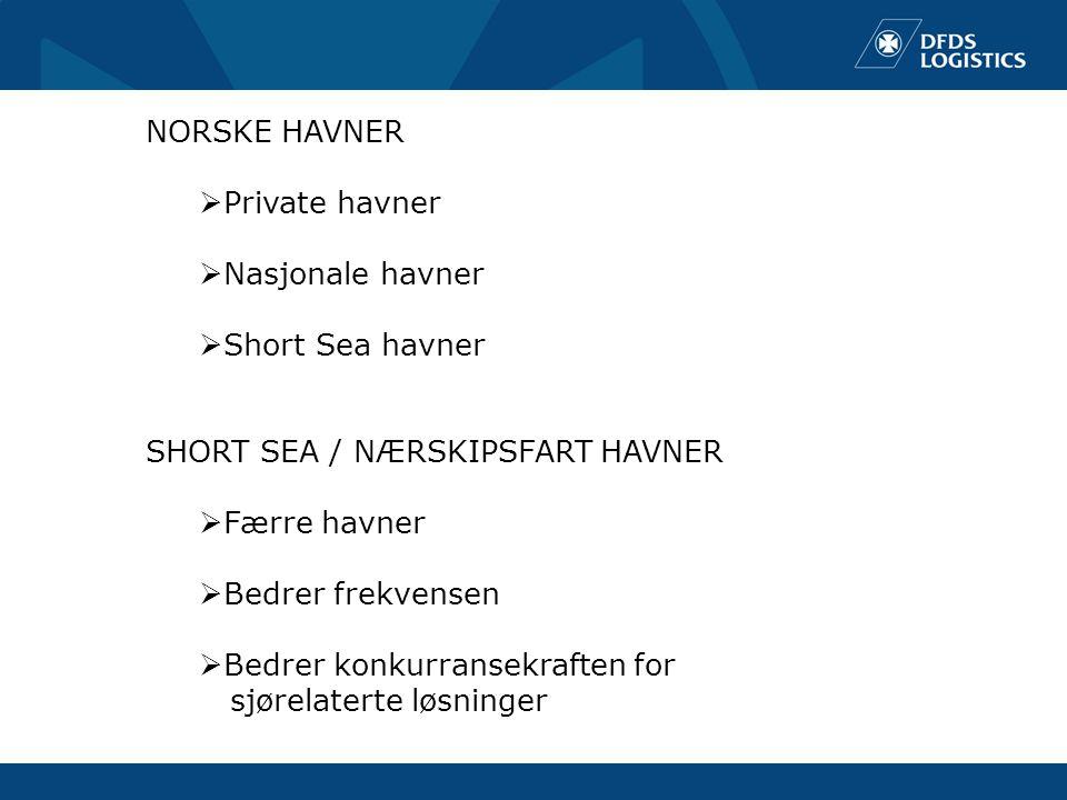 NORSKE HAVNER  Private havner  Nasjonale havner  Short Sea havner SHORT SEA / NÆRSKIPSFART HAVNER  Færre havner  Bedrer frekvensen  Bedrer konkurransekraften for sjørelaterte løsninger