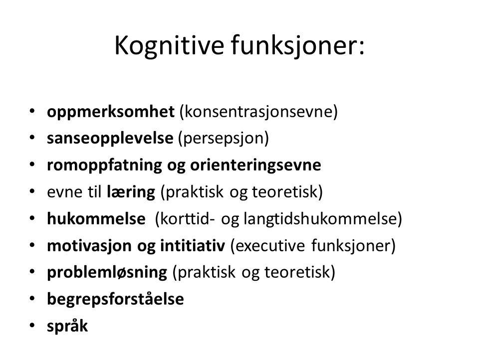 Kognitive funksjoner: • oppmerksomhet (konsentrasjonsevne) • sanseopplevelse (persepsjon) • romoppfatning og orienteringsevne • evne til læring (praktisk og teoretisk) • hukommelse (korttid- og langtidshukommelse) • motivasjon og intitiativ (executive funksjoner) • problemløsning (praktisk og teoretisk) • begrepsforståelse • språk