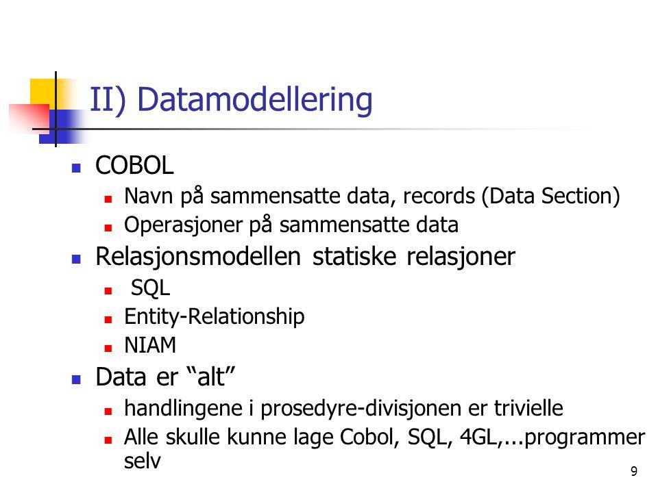 10 III) Objektorientering & systemperspektiv  Data og handling like viktig, både:  Prosedyrer (= navn på sammensatte handlinger, kalt metoder)  Recorder (=navn på sammensatte data)  Utgangspunkt i simulering  modellering av verden  Som programmerere/systemerere lager vi:  en modell av den del av verden vi lager system for  forholder vi oss til brukere og andre systemer  bruker en viss mengde isenkram (maskiner, kommunikasjonslinjer, sensorer, skjermer, skrivere,..) til å realisere systemet