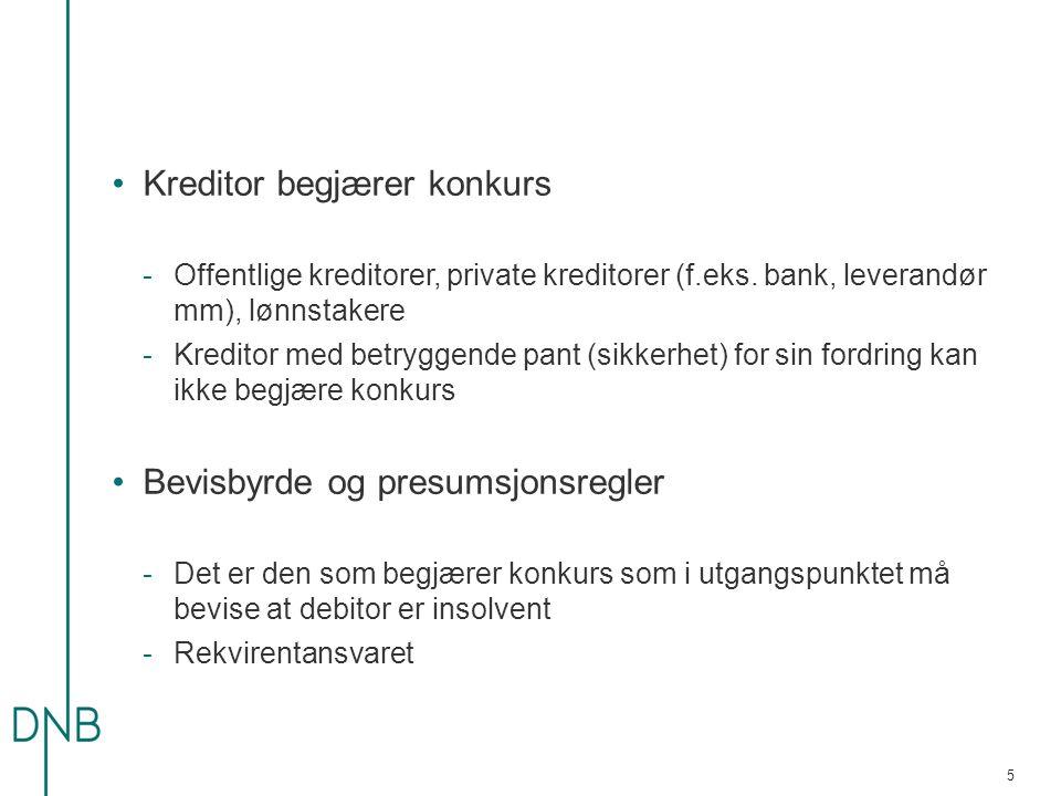 -Presumsjoner for at debitor er insolvent (snudd bevisbyrde):  Skyldnerens erkjennelse – konkursloven § 62  «intet til utlegg» – konkursloven § 62  Konkursvarsel – konkursloven § 63 a)Påkrav – forfalt og uomtvistede krav («klart») b)Etter 4 uker c)Betalingsoppfordring med 2 ukers betalingsfrist forkynnes d)Konkursbegjæring innen 2 uker etter betalingsfristens utløp -Skjema på Konkursrådets hjemmesider 6