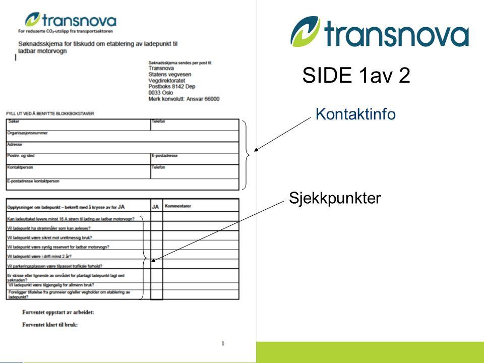 Sjekkpunkter Kontaktinfo SIDE 1av 2