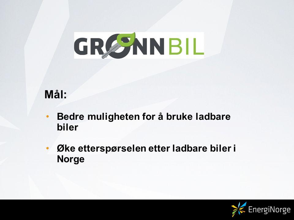 Mål: •Bedre muligheten for å bruke ladbare biler •Øke etterspørselen etter ladbare biler i Norge