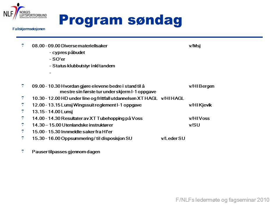 Fallskjermseksjonen F/NLFs ledermøte og fagseminar 2010 Program søndag 08.00 - 09.00 Diverse materiellsakerv/Msj - cypres påbudet - SO'er - Status klubbutstyr inkl tandem - 09.00 - 10.30 Hvordan gjøre elevene bedre i stand til å v/HI Bergen mestre sin første tur under skjerm I-1 oppgave 10.30 - 12.00 HD under line og frittfall utdannelsen XT HAGLv/HI HAGL 12.00 - 13.15 Lunsj Wingssuit reglement I-1 oppgavev/HI Kjevik 13.15 - 14.00 Lunsj 14.00 - 14.30 Resultater av XT Tubehopping på Vossv/HI Voss 14.30 – 15.00 Utenlandske instruktørerv/SU 15.00 - 15.30 Innmeldte saker fra HI'er 15.30 - 16.00 Oppsummering / til disposisjon SUv/Leder SU Pauser tilpasses gjennom dagen