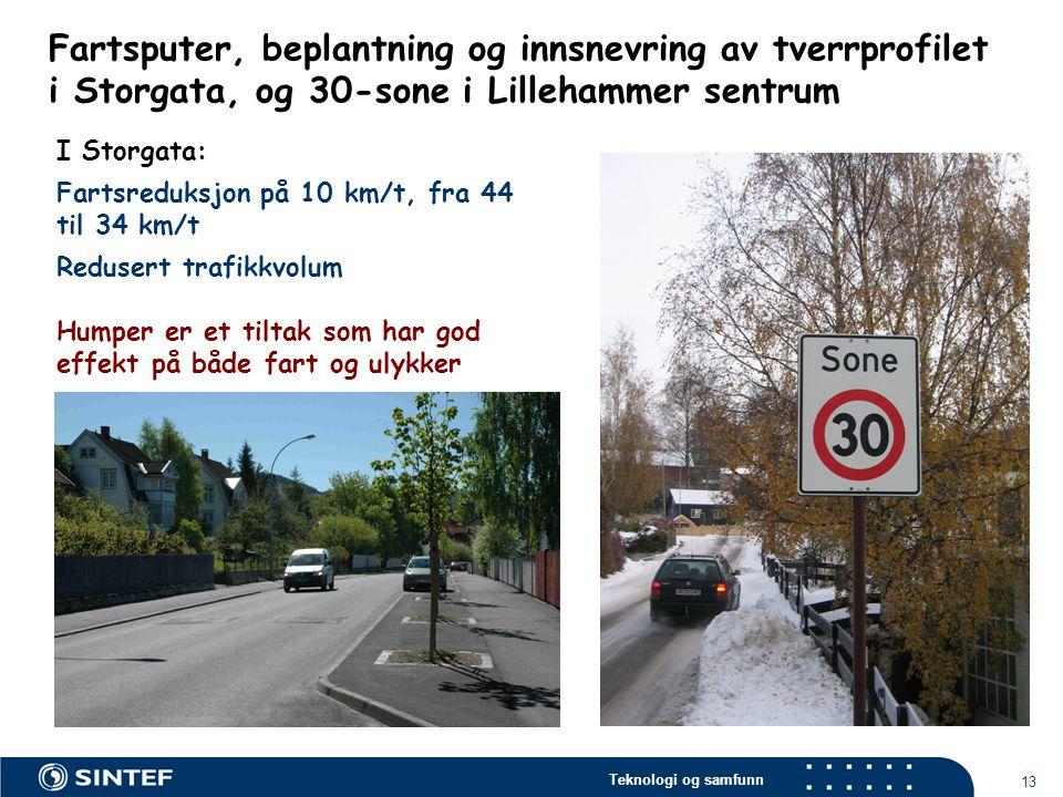 Teknologi og samfunn 13 I Storgata: Fartsreduksjon på 10 km/t, fra 44 til 34 km/t Redusert trafikkvolum Humper er et tiltak som har god effekt på både