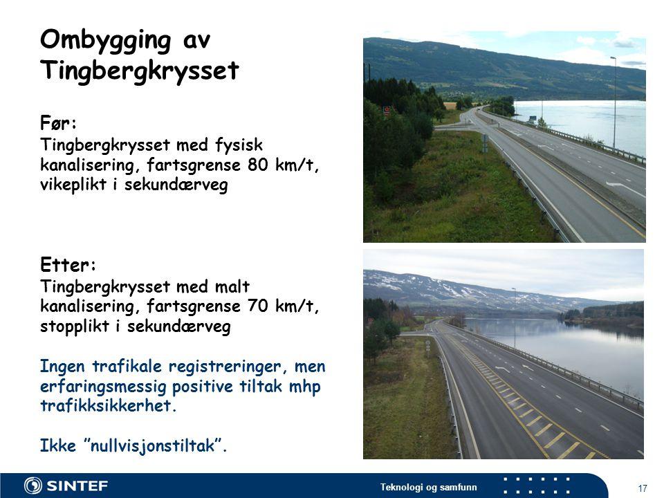 Teknologi og samfunn 17 Ombygging av Tingbergkrysset Før: Tingbergkrysset med fysisk kanalisering, fartsgrense 80 km/t, vikeplikt i sekundærveg Etter: