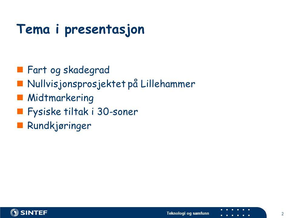 Teknologi og samfunn 2 Tema i presentasjon  Fart og skadegrad  Nullvisjonsprosjektet på Lillehammer  Midtmarkering  Fysiske tiltak i 30-soner  Ru