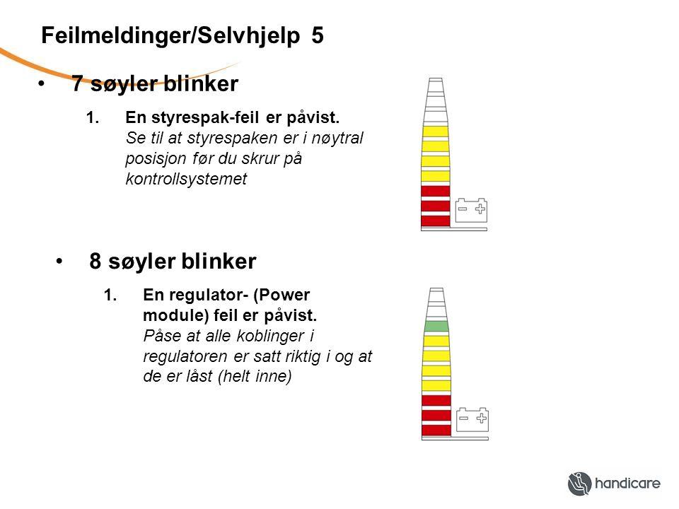 Feilmeldinger/Selvhjelp 5 •7 søyler blinker 1.En styrespak-feil er påvist.
