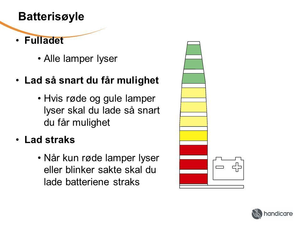 Batterisøyle •Fulladet •Alle lamper lyser •Lad så snart du får mulighet •Hvis røde og gule lamper lyser skal du lade så snart du får mulighet •Lad straks •Når kun røde lamper lyser eller blinker sakte skal du lade batteriene straks