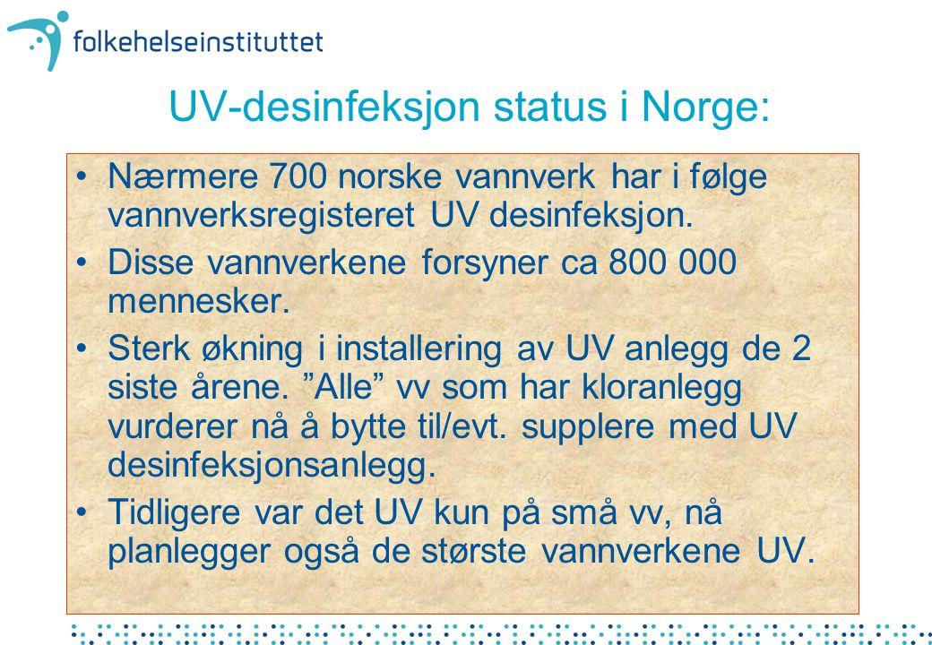 UV-desinfeksjon status i Norge: •Nærmere 700 norske vannverk har i følge vannverksregisteret UV desinfeksjon.