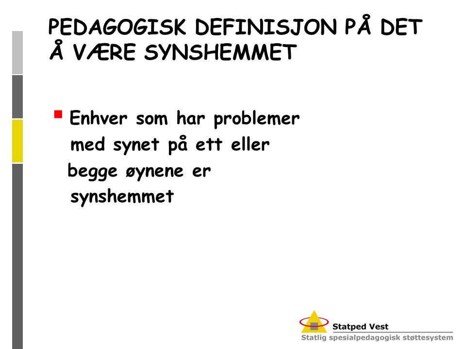 PEDAGOGISK DEFINISJON PÅ DET Å VÆRE SYNSHEMMET  Enhver som har problemer med synet på ett eller begge øynene er synshemmet