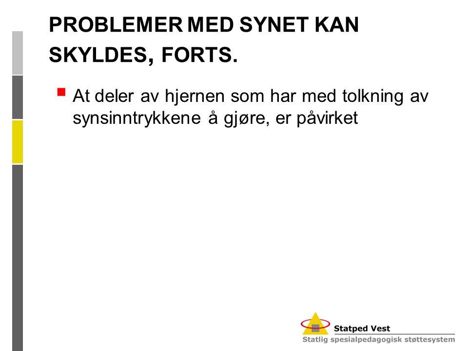 PROBLEMER MED SYNET KAN SKYLDES, FORTS.  At deler av hjernen som har med tolkning av synsinntrykkene å gjøre, er påvirket
