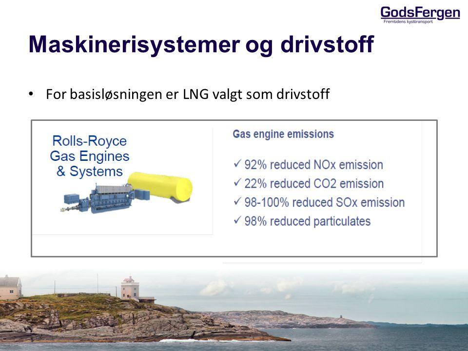 Maskinerisystemer og drivstoff • For basisløsningen er LNG valgt som drivstoff