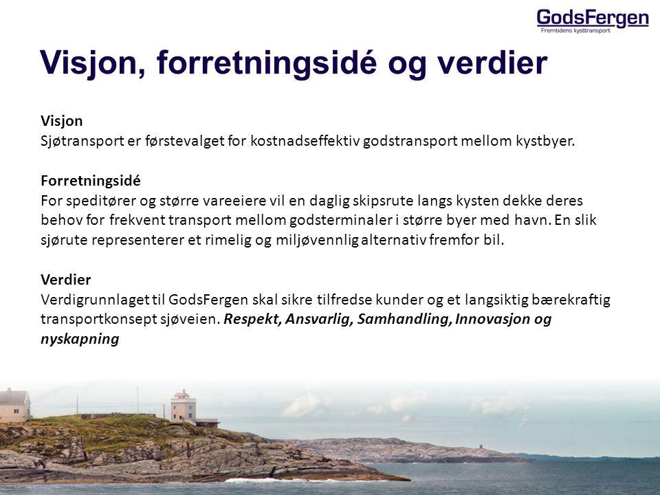 Visjon, forretningsidé og verdier Visjon Sjøtransport er førstevalget for kostnadseffektiv godstransport mellom kystbyer. Forretningsidé For speditøre