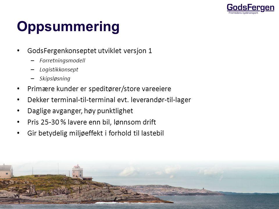 Oppsummering • GodsFergenkonseptet utviklet versjon 1 – Forretningsmodell – Logistikkonsept – Skipsløsning • Primære kunder er speditører/store vareeiere • Dekker terminal-til-terminal evt.
