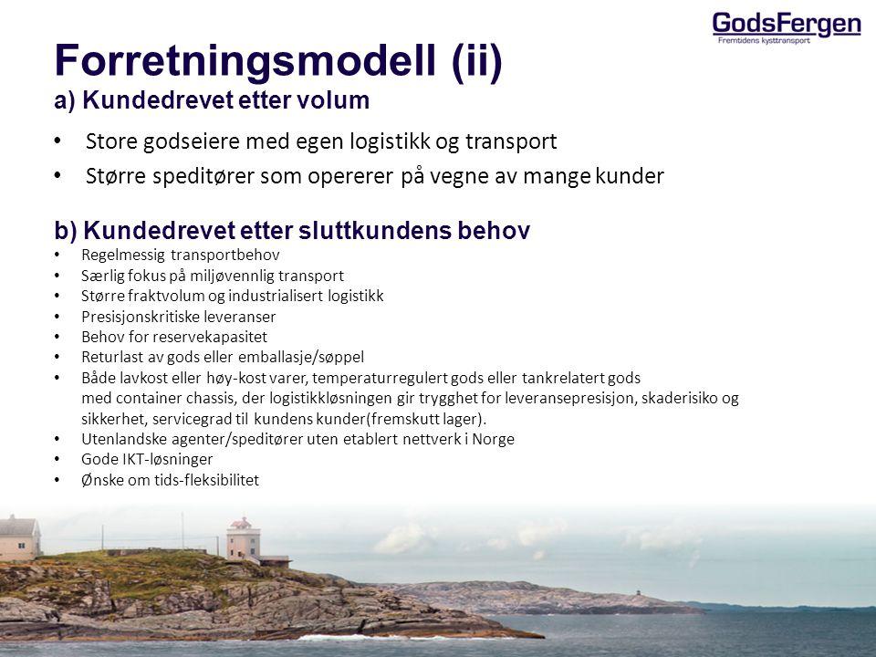 Innhold • Innledning • Forretningsmodell • Logistikkonsept • Skipsløsning • Visjon og mål • Oppsummering/Veien videre