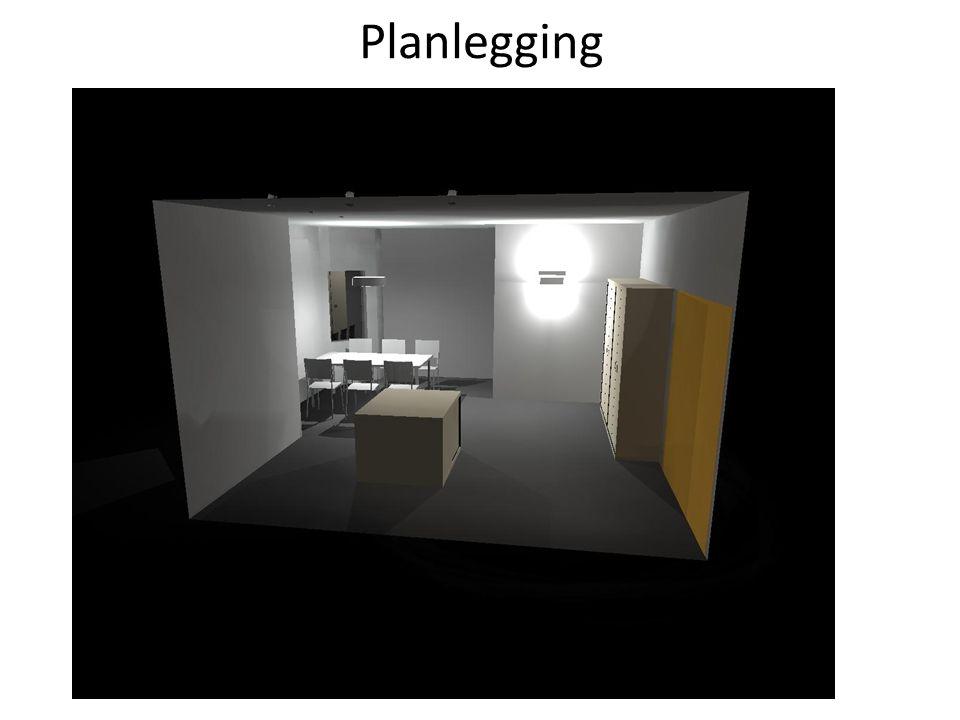 Praktiske Eksempler • Downlight • Utelampe • Benkebelysning • Vegglamper (små rom, ganger, bord inntil vegg ) • Taklamper ( større rom, over bord )