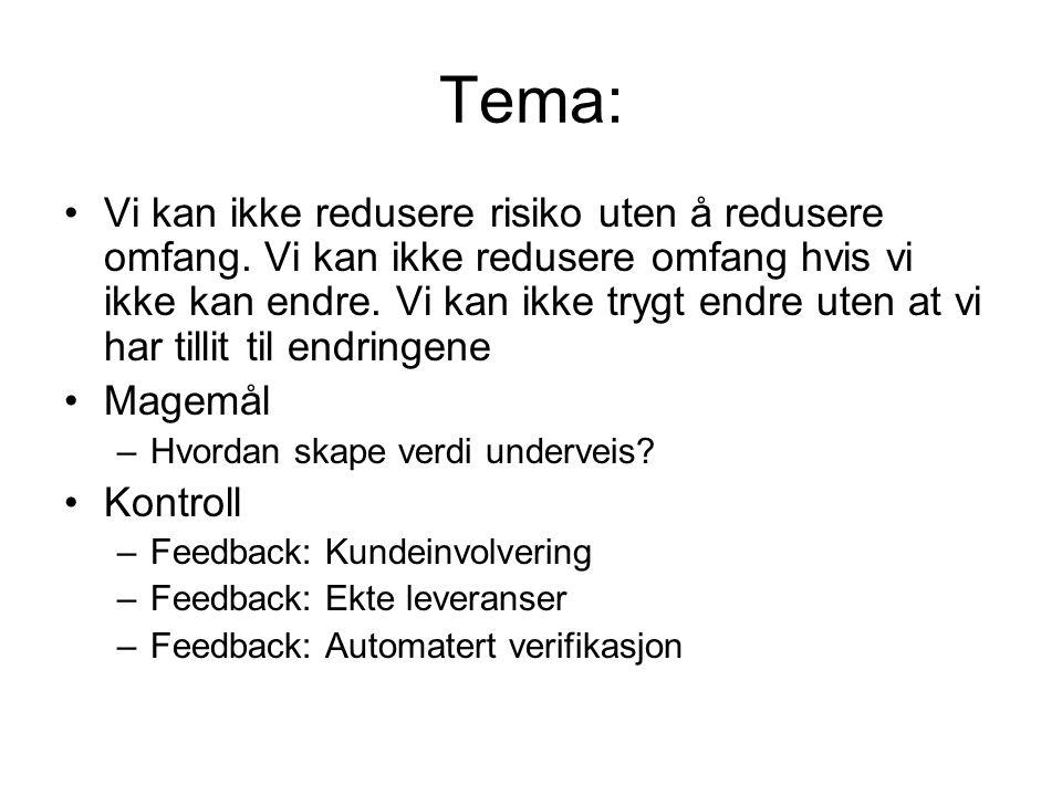 Tema: •Vi kan ikke redusere risiko uten å redusere omfang.