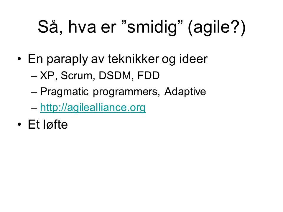 Så, hva er smidig (agile ) •En paraply av teknikker og ideer –XP, Scrum, DSDM, FDD –Pragmatic programmers, Adaptive –http://agilealliance.orghttp://agilealliance.org •Et løfte