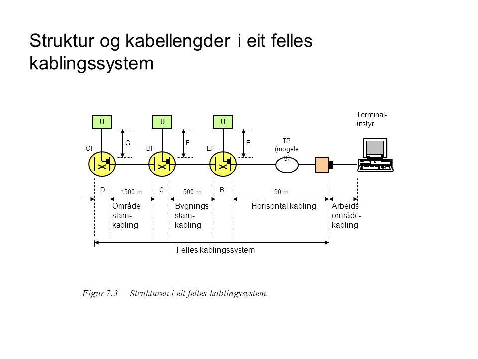 Struktur og kabellengder i eit felles kablingssystem U G OF D U F BF C U E EF B 1500 m500 m90 m TP (mogele g) Terminal- utstyr Område- stam- kabling B