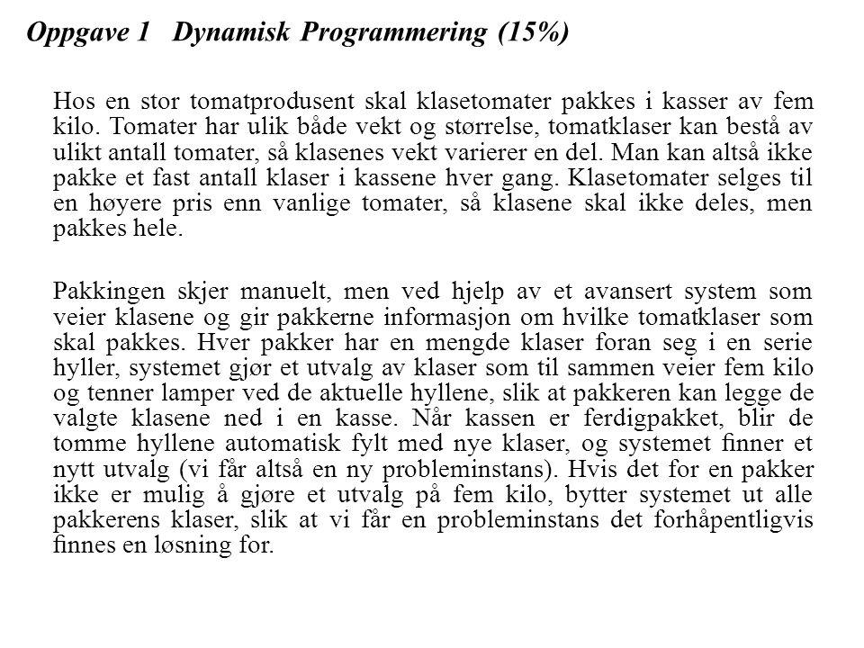 Oppgave 1 Dynamisk Programmering (15%) 1.a For enkelhets skyld skal vi nå anta at pakkesystemet opererer med vekter i hele decagram (1 decagram = 10 gram), slik at vi skal finne et utvalg av klaser som til sammen veier 500 decagram.