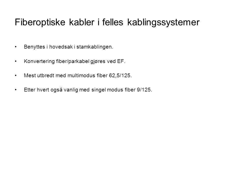 Fiberoptiske kabler i felles kablingssystemer •Benyttes i hovedsak i stamkablingen. •Konvertering fiber/parkabel gjøres ved EF. •Mest utbredt med mult