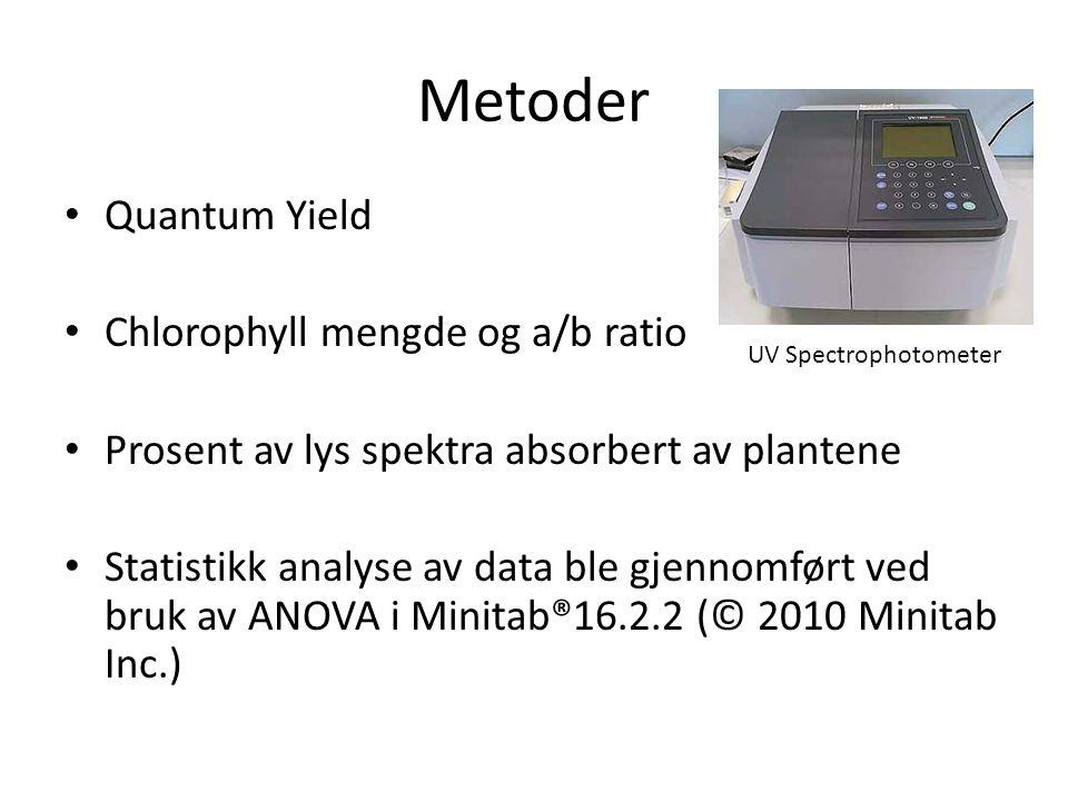 Metoder • Quantum Yield • Chlorophyll mengde og a/b ratio • Prosent av lys spektra absorbert av plantene • Statistikk analyse av data ble gjennomført ved bruk av ANOVA i Minitab®16.2.2 (© 2010 Minitab Inc.) UV Spectrophotometer
