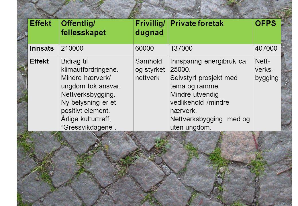 EffektOffentlig/ fellesskapet Frivillig/ dugnad Private foretakOFPS Innsats21000060000137000407000 EffektBidrag til klimautfordringene. Mindre hærverk