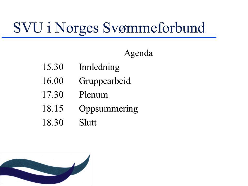 SVU i Norges Svømmeforbund Agenda 15.30Innledning 16.00 Gruppearbeid 17.30 Plenum 18.15 Oppsummering 18.30 Slutt