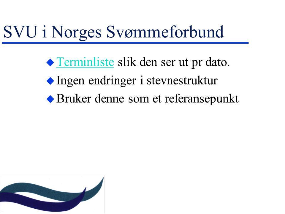 SVU i Norges Svømmeforbund u Terminliste slik den ser ut pr dato.