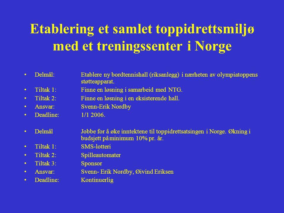 Etablering et samlet toppidrettsmiljø med et treningssenter i Norge •Delmål: Etablere ny bordtennishall (riksanlegg) i nærheten av olympiatoppens støtteapparat.