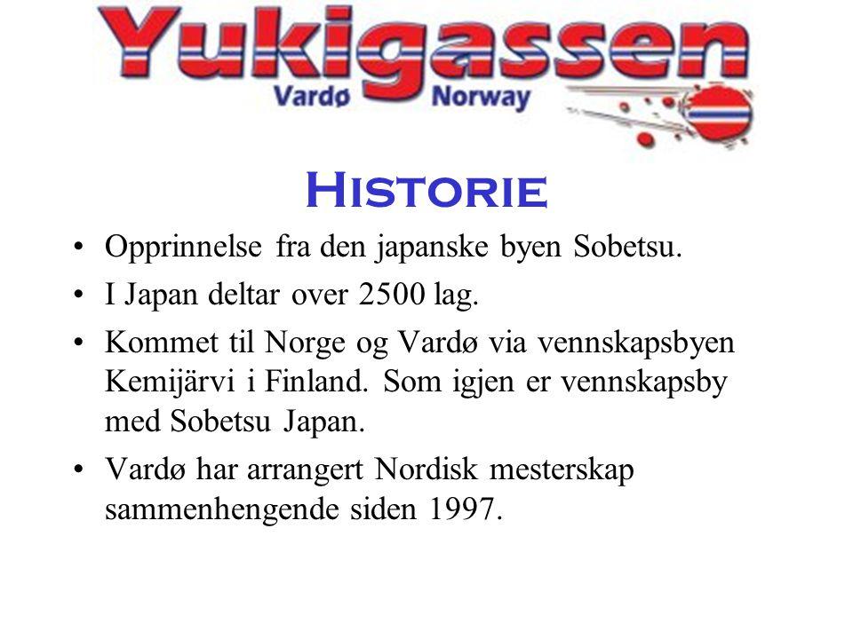 Historie •Opprinnelse fra den japanske byen Sobetsu. •I Japan deltar over 2500 lag. •Kommet til Norge og Vardø via vennskapsbyen Kemijärvi i Finland.