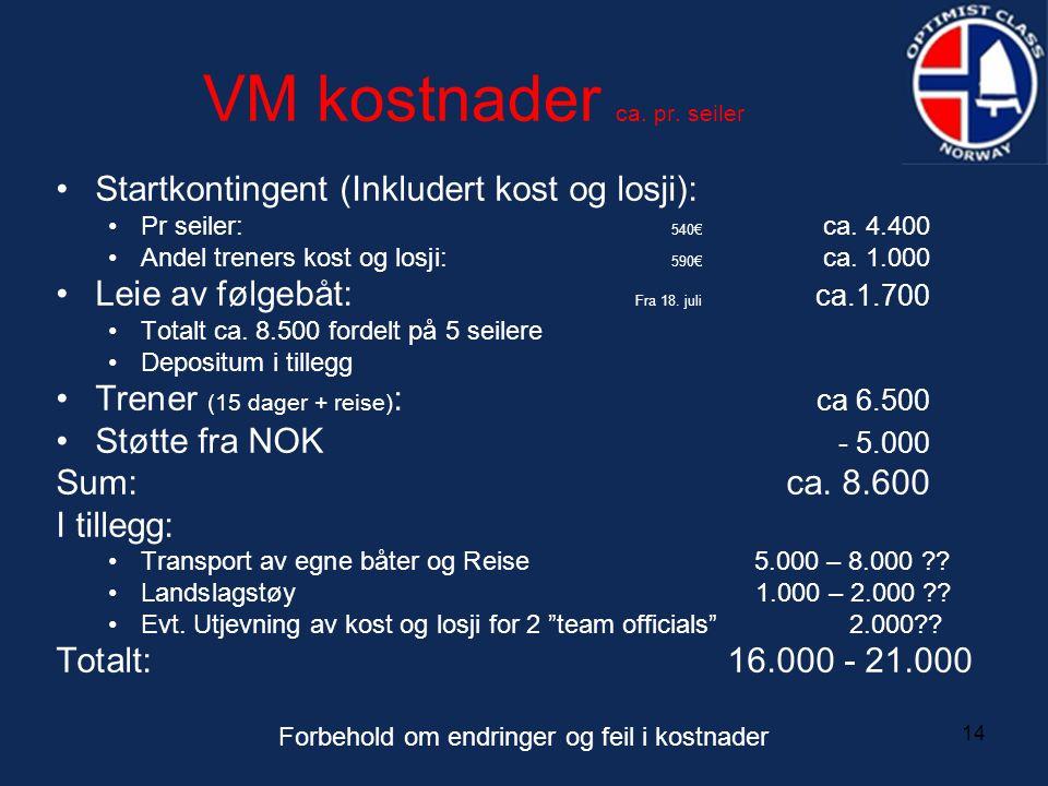 14 VM kostnader ca. pr. seiler •Startkontingent (Inkludert kost og losji): •Pr seiler: 540€ ca. 4.400 •Andel treners kost og losji: 590€ ca. 1.000 •Le