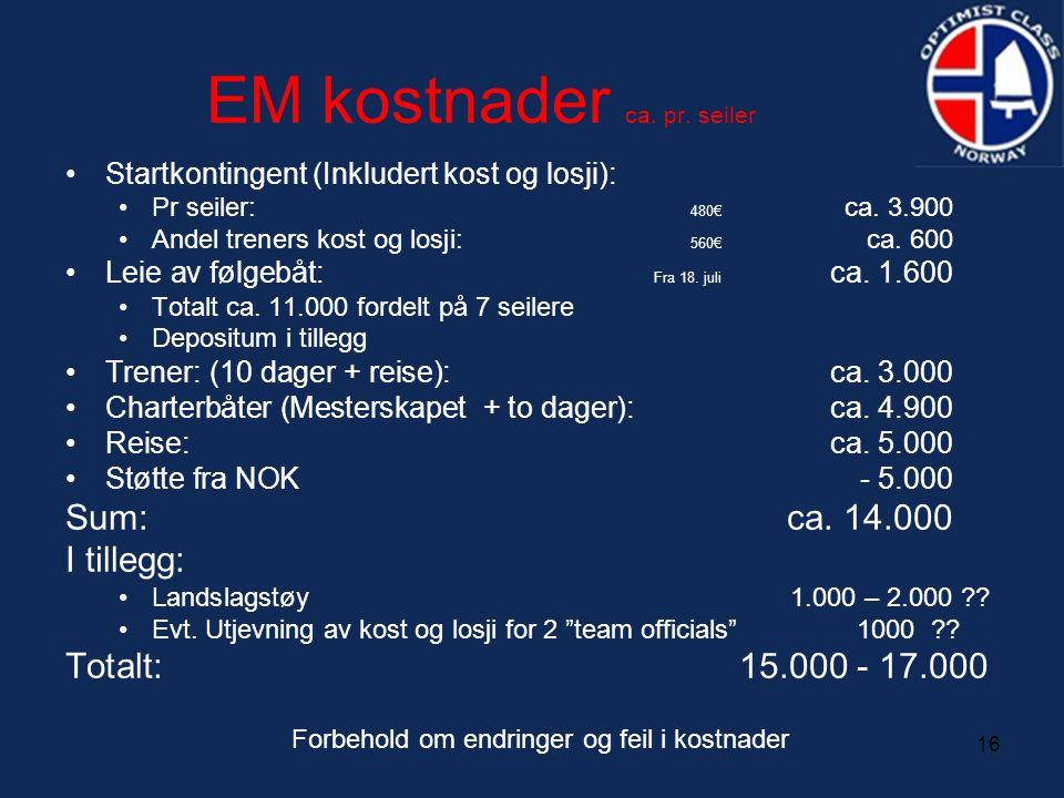 16 EM kostnader ca. pr. seiler •Startkontingent (Inkludert kost og losji): •Pr seiler: 480€ ca. 3.900 •Andel treners kost og losji: 560€ ca. 600 •Leie