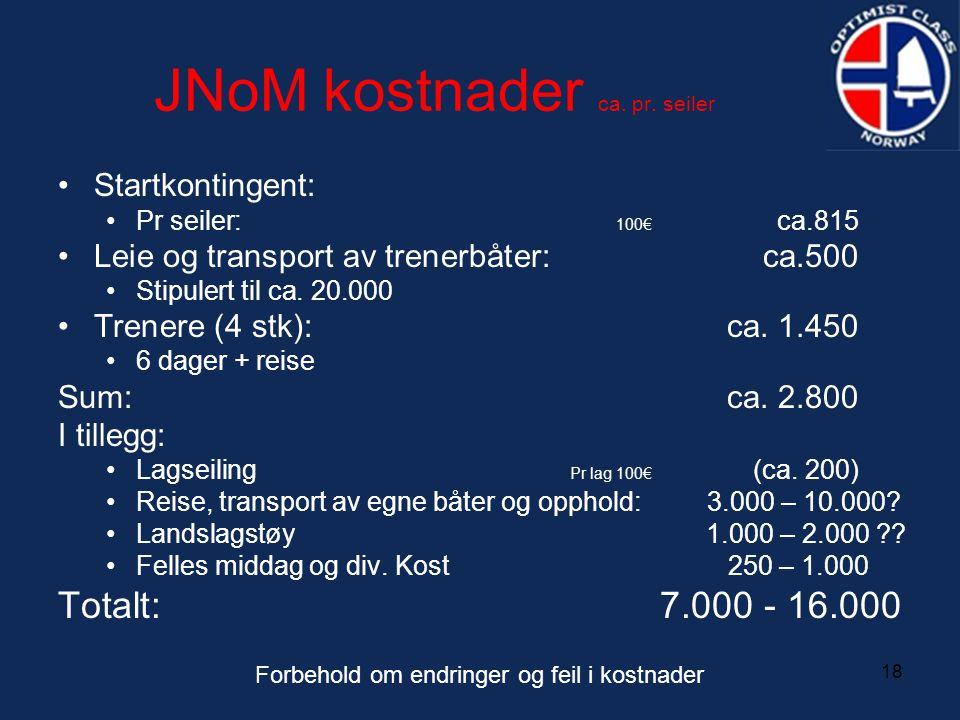 18 JNoM kostnader ca. pr. seiler •Startkontingent: •Pr seiler: 100€ ca.815 •Leie og transport av trenerbåter:ca.500 •Stipulert til ca. 20.000 •Trenere